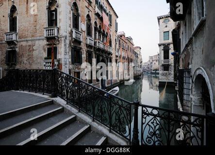 Bridge over a canal, palazzo, Venice, Venezia, Veneto, Italy, Europe - Stock Photo