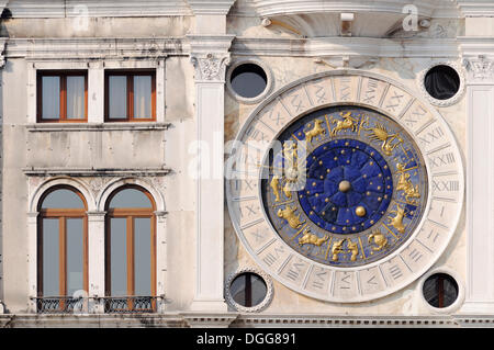 Astronomical clock, clock tower, Torre dell'Orologio tower, St. Mark's Square, San Marco, Venice, Veneto, Italy, - Stock Photo