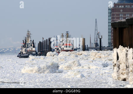 Tug boat, pack ice, Port of Hamburg in winter, Altona, Hamburg - Stock Photo
