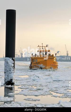 Ferry, Port of Hamburg in winter, Hamburg - Stock Photo
