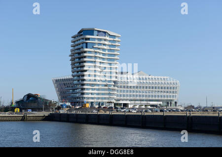 Marco-Polo-Tower and Unilever building, Ueberseequartier, Strandkai, Grasbrookhafen, HafenCity, Hamburg - Stock Photo