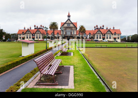 Rotorua, North Island, New Zealand. The Rotorua Museum of Art and History , located in the Government Gardens. - Stock Photo
