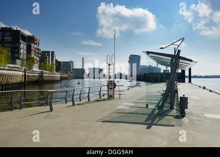 View from the Elbe Philharmonic Hall ferry station on residential and office buildings at Dalmannkai, Grasbrookhafen, - Stock Photo
