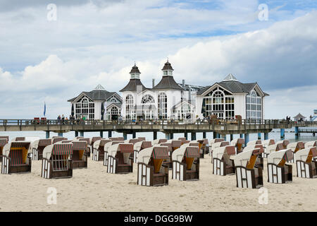 Pier, beach chairs on the beach, Baltic Sea resort of Sellin, Baltic Seaside Resort Sellin, Rügen - Stock Photo