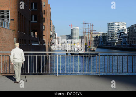 Historic sailing ships in the Traditionsschiffhafen, Tall Ship Harbour, modern residential and office buildings - Stock Photo