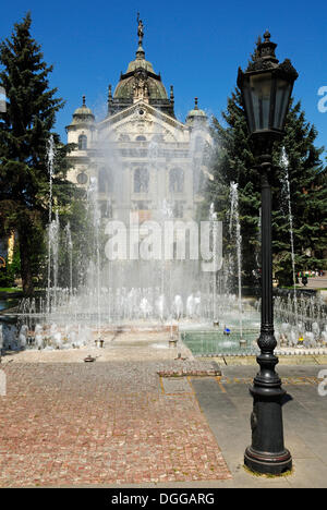 Fountain in front of the National Theater in the historic town of Kosice, Slovakia, Eastern Europe - Stock Photo
