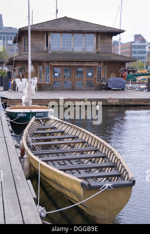Umiaq boat at The Center for Wooden Boats, Seattle, USA 2012. CWB has a hands on approach to teaching boat building - Stock Photo