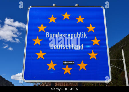 Sign at the border of the Federal Republic of Germany, Mittenwald, Bavaria, Europe (public ground), Mittenwald, - Stock Photo