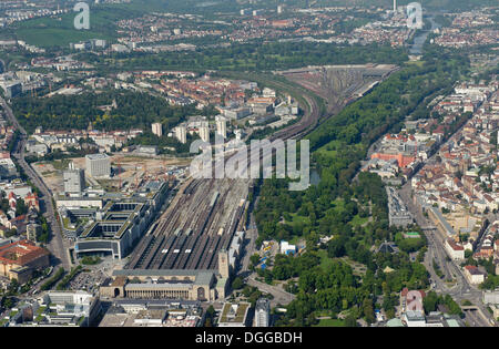 Aerial view, main station with station tower, the ground water management construction site and the railway tracks - Stock Photo