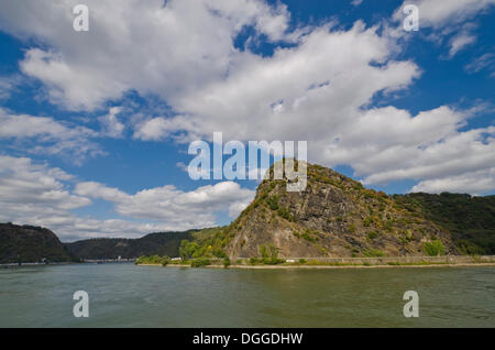 Loreley rock on the bank of the Rhine, near St. Goarshausen, Rhineland-Palatinate - Stock Photo