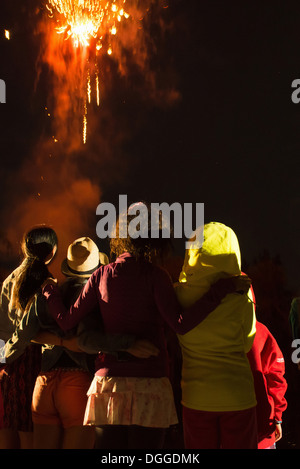 Group of people watching firework display - Stock Photo