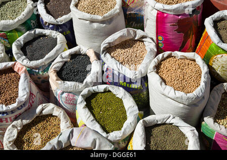 Many different types of dried pulses, dhal, in bags, displayed for sale, Kathmandu, Kathmandu District, Bagmati - Stock Photo