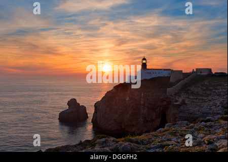 Portugal, the Algarve, cape St Vincent Lighthouse at sunset - Stock Photo