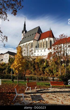 St Vitus Church in Cesky Krumlov, UNESCO World Heritage Site, South Bohemia, Bohemia, Czech Republic, Europe - Stock Photo
