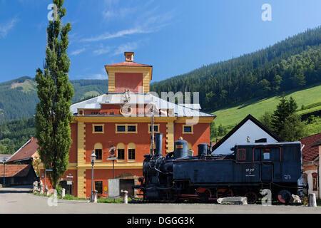 Old steam locomotive in front of the Radwerk IV Eisenmuseum iron museum, Vordernberg, Leoben, Upper Styria, Styria, - Stock Photo