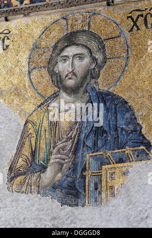 Christ Pantocrator, image of Jesus Christ, Deesis mosaic in the southern gallery, Hagia Sophia, Ayasofya, interior - Stock Photo