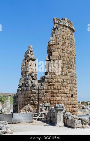 Hellenistic city gate, ruins of the oval towers, Perge, Aksu, Turkish Riviera, Antalya, Turkey, Asia - Stock Photo