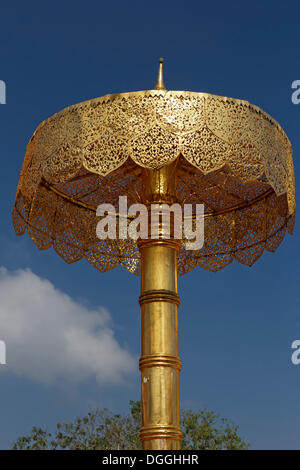 Ceremonial umbrella in the temple complex of Wat Phra That Doi Suthep Ratcha Woraviharn, Chiang Mai, Northern Thailand, - Stock Photo