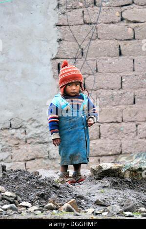 Little girl in Pampa Blanca village, Munizip Charazani, Departamento La Paz, Bolivia, South America - Stock Photo
