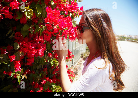 Young woman smelling flowers, Palos Verdes, California, USA - Stock Photo