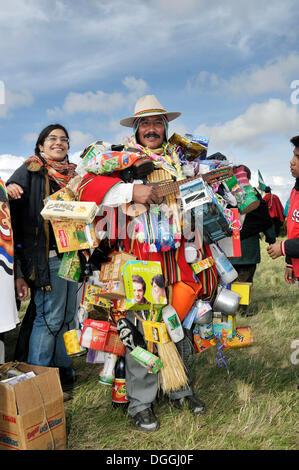 Bolivian Equeco or Ekeko, traditional seller of miniatures, Alasitas, for good luck, La Paz, Bolivia, South America - Stock Photo