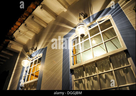 House illuminated at night, old town of Paraty or Parati, Costa Verde, State of Rio de Janeiro, Brazil, South America - Stock Photo