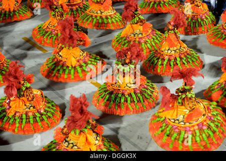 Dancers, Bahianas in sweeping skirts, parade of the Academicos do Salgueiro samba school during the Carnival in - Stock Photo