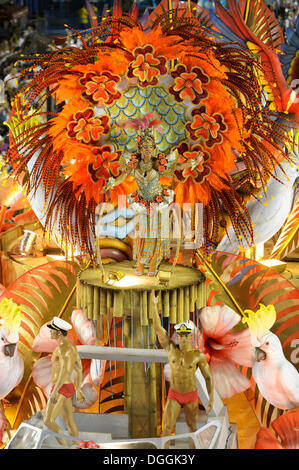 Dancers on floats, parade of the Academicos do Salgueiro samba school during the Carnival in Rio de Janeiro 2013 - Stock Photo