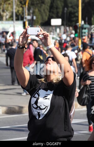 Rome, Italy. 19th Oct, 2013 Demonstrators at an Anti Government Austerity Rally in Rome, Italy  © Gari Wyn Williams/Alamy - Stock Photo