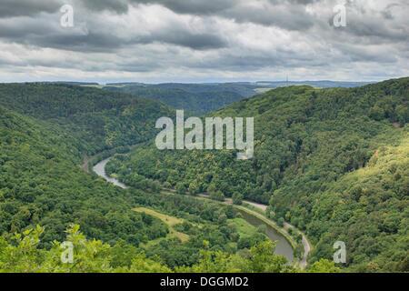 Lahnschleife, bend of the Lahn River, Lahn, Obernhof / Nassau, Rhineland-Palatinate, Germany - Stock Photo