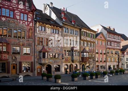 Murals on the facades at Rathausplatz square, Stein am Rhein, Canton of Schaffhausen, Switzerland, Europe - Stock Photo
