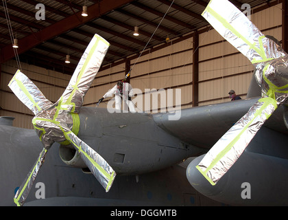 Mr. Larry Allen, Aircraft Painter, L3 Communications Integrated Systems Vertex Aerospace, apply paint to protect - Stock Photo