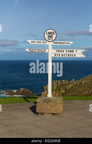 Signpost at Land`s End Cornwall UK the most westerly point of England on the Penwith peninsula eight miles from - Stock Photo