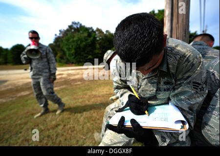 JOINT BASE MCGUIRE-DIX-LAKEHURST, N.J. -- Senior Airman Johny Martinez, 818th Global Mobility Readiness Squadron - Stock Photo