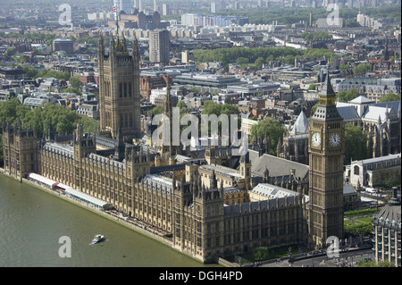 View from London Eye of Palace of Westminster (Houses of Parliament), River Thames, Westminster, London, England, - Stock Photo