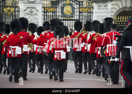 Band of the Welsh Guards guardsmen in ceremonial uniforms 'Changing of the Guard' outside palace Buckingham Palace - Stock Photo