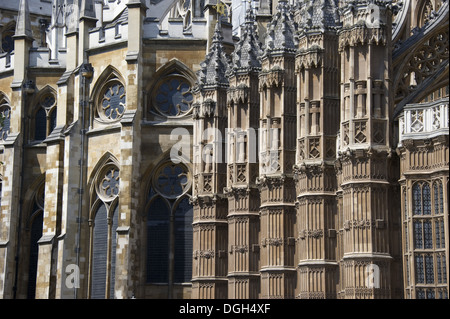 Detail of gothic church architecture, Westminster Abbey, City of Westminster, London, England, april - Stock Photo