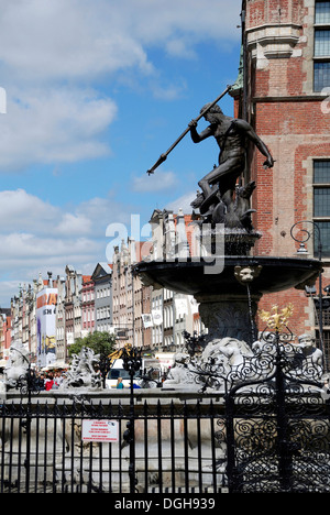 Neptune fountain at the Long Market in Gdansk. - Stock Photo