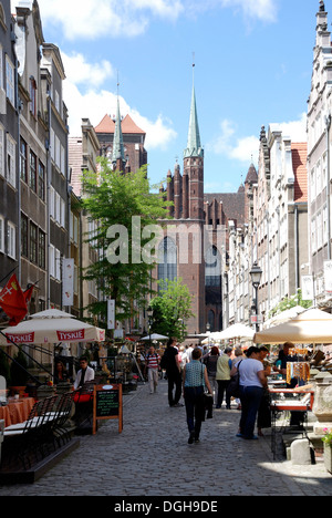 Mary's Street with views of the St. Mary's Church of Gdansk - Kosciol Mariacki. - Stock Photo