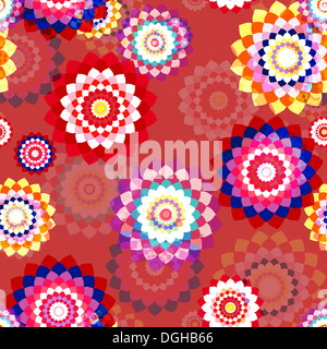 Floral seamless background - stylized aster flowers. - Stock Photo