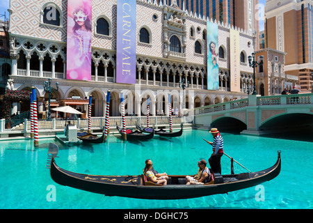 Gondola on the Grand Canal at the Venetian hotel and casino, Las Vegas Boulevard South, Las Vegas, Nevada, USA - Stock Photo