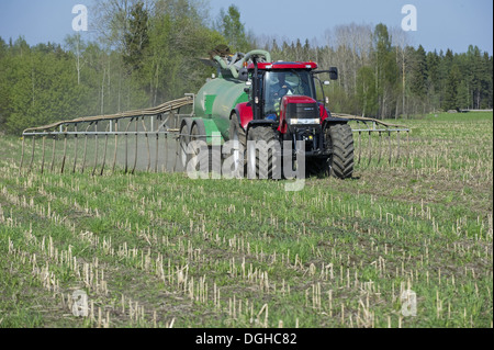 Case 225 tractor with Samson vacuum slurry tanker and slurry injector, injecting slurry into stubble field, Sweden, - Stock Photo