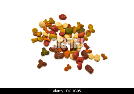 Dry cat food in various shapes and flavors - Stock Photo