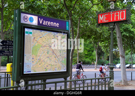 Paris France Europe French 7th arrondissement Boulevard des Invalides Varenne Metro Station Line 13 subway public - Stock Photo