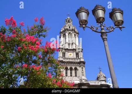 Paris France Europe French 9th arrondissement Place d'Estienne d'Orves Église de la Sainte Trinité church lamppost - Stock Photo