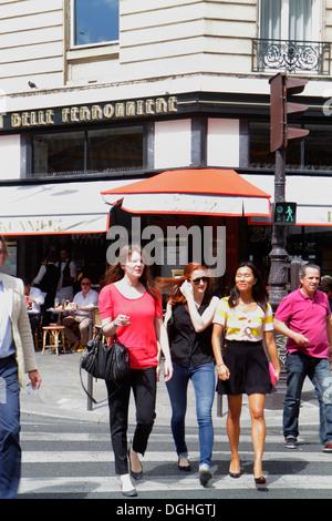 Paris France Europe French 8th arrondissement Rue Pierre Charron pedestrians crossing street woman Asian - Stock Photo