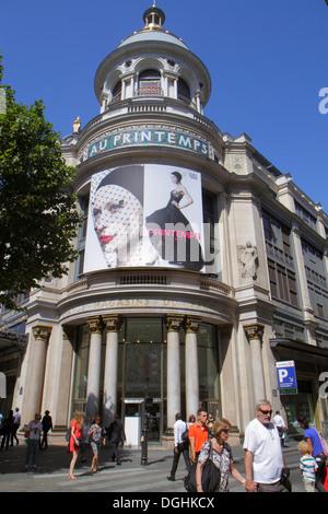 Paris France Europe French 9th arrondissement Boulevard Haussmann Au Printemps department store shopping street - Stock Photo