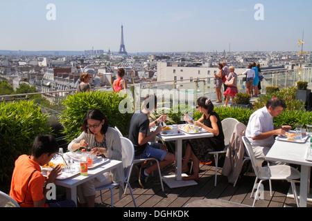 Paris France Europe French 9th arrondissement Boulevard Haussmann Au Printemps department store rooftop terrace - Stock Photo
