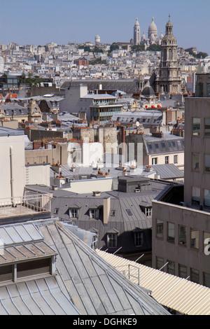 France, Europe, French, Paris, 9th arrondissement, Boulevard Haussmann, Au Printemps, department store, rooftops, - Stock Photo