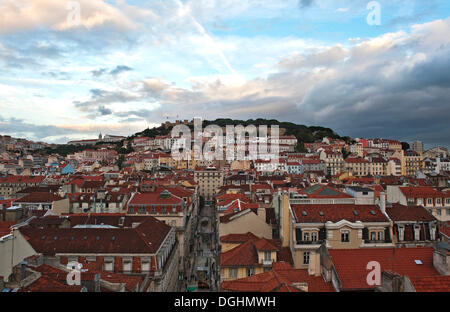 View from the top station of the lift Elevador de Santa Justa over the Baixa district on the castle hill with the - Stock Photo